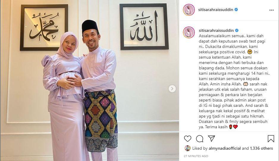 """Hamil 7 bulan... Siti Sarah sekeluarga positif Covid-19 - """"Doakan kami harungi 14 hari ini"""""""