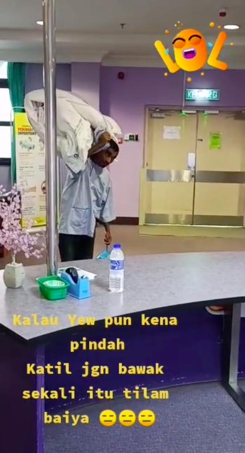 Nurse suruh pindah katil, 'bhaiya' selamba angkut tilam sekali bikin netizen berdekah