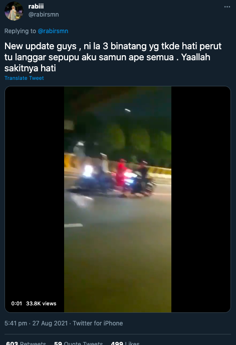 Motosikal dilarikan, tangan gadis mangsa samun tengah jalan terpaksa dipotong