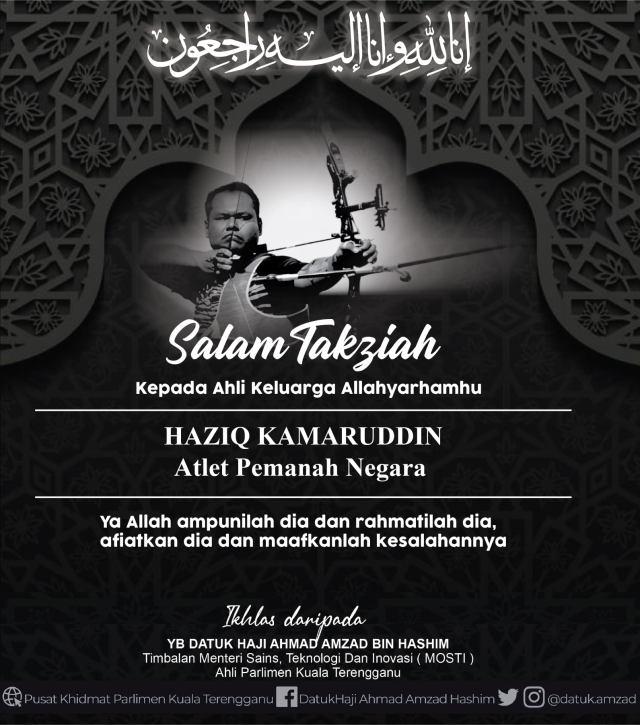 Atlet pemanah negara Haziq Kamaruddin meninggal dunia